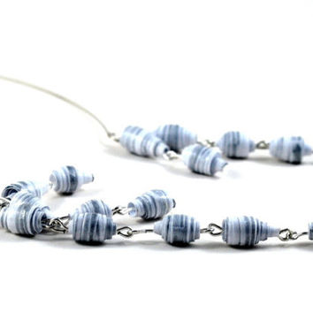 Handmade Paper Bead Necklace White and Silver Striped Pastel Tones on Memory Wire Recycled Jewellery