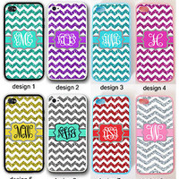 PERSONALIZED CHEVRON W/OUT GLITTERS MONOGRAM RUBBER CASE FOR IPHONE 6 4S 5 5S 5C