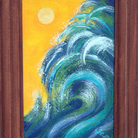 Original abstract small size wood framed acrylic painting on varnished wooden board
