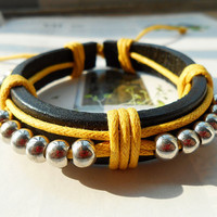 Summer Gift Gorgeous Silver Plating Beads Charm Yellow Cotton rope Black Leather Belt Adjustable Wrap Bracelet  C-64