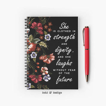 She Is Clothed In Strength And Dignity - Spiral Notebook With Lined Paper, A5 Writing Journal, Diary, Inspirational Quote, Faith, Scripture