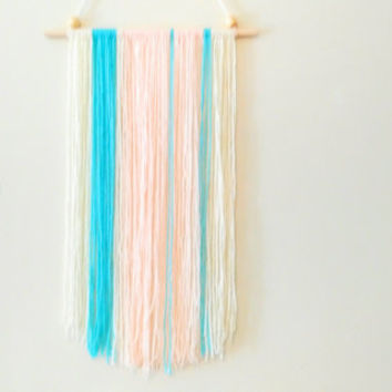 Cream, Peach, Turquoise Yarn Wallhanging, Boho Nursery Wallhanging, Yarn Wallhanging, Yarn Decor, Boho Decor