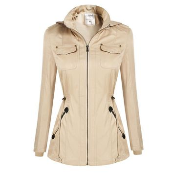 Women Bomber Jackets Autumn Winter Hooded Basic Jacket Casual Slim Windbreaker Jacket Outwear