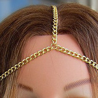 Bohemian Gold Chain Headdress  Headband by allthingswildandfree