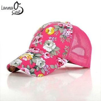 DCCKWJ7 Hot Sale Ladies Baseball Caps Flower Printing Summer Style Hip Hop Cool Cap for Women Quick Dry Adjustable Sun Hat Free Shipping