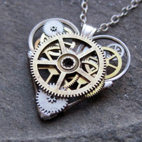 "Clockwork Heart Necklace ""Fire"" Elegant Industrial Heart Pendant Steampunk Sculpture Gershenson-Gates Mechanical Mind Christmas"
