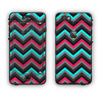 The Sharp Pink & Teal Chevron Pattern Apple iPhone 6 Plus LifeProof Nuud Case Skin Set