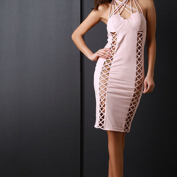 Suede Double Lace Up Strappy Cage Dress