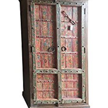 Antique Armoire Furniture Floral Hand Painted Cabinet Vintage Mediterranean Boho Shabby Chic Interiors