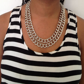 Chunky Double Silver Chain Link Necklace
