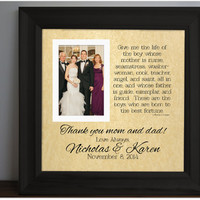 Wedding Frame for Groom's Parents - thank you parents - Parents of groom - Custom Picture Frame - Anniversary Gift - Groom Parents - 15x15