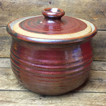 Heavy Brown Pottery Crock with Lid