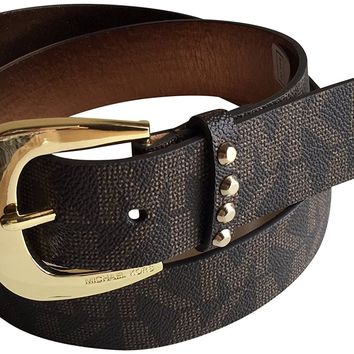 Michael Kors Women's Wide Studded Belt Brown L
