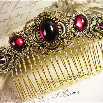 Medieval, Renaissance, Red, Garnet, Bridal Comb, Tudor, Wedding, Hair Accessory, Ren Faire, Medieval Jewelry, Garb, Red, Bridesmaid, Garb