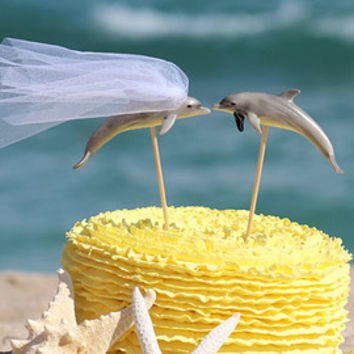 Fish Wedding Beach  Cake Topper - Goldfish Mr & Mrs- Beach Wedding