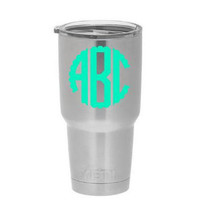Scallop Monogram -  Yeti Custom Decal - Yeti Rambler - Custom Decal - Monogram Decal - Personalized Yeti - Monogram Cup - Personalized