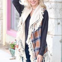 Plaid + Fringe Tassels Fur Lined Vest {Camel Mix}