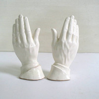 Vintage hands. white hand figurines. praying hand statues