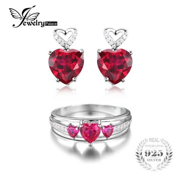 Lab Ruby Zircon Heart Past Present Future Ring Set