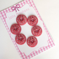 6 pink star vintage buttons antic