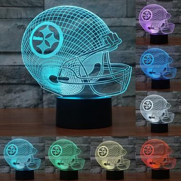 7 Colors Change 3D LED night light NFL team Pittsburgh Steelers football helmet touch sensor USB table lamp Home decor IY803649