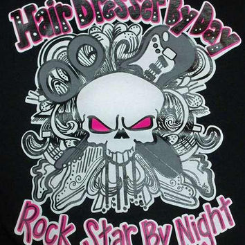 Southern Chics Funny Rockstar Hair Dresser Stylist Girlie Bright T Shirt