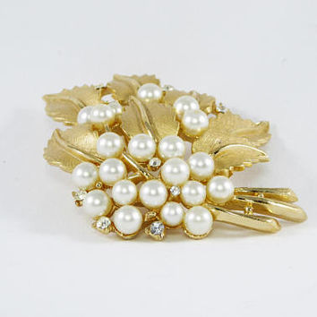 Classic Gold Tone & Pearl Leaves Brooch Signed Trifari Leaf Bouquet in Brushed Gold Tone, Pearlescent White Ball Beads Vintage 1950's 1960's