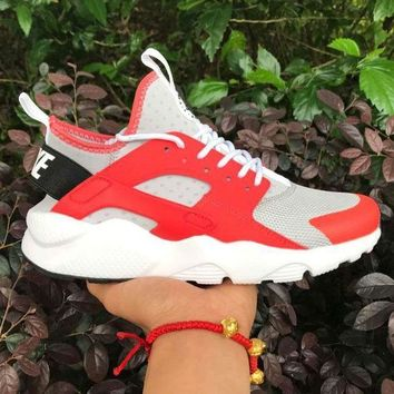 ONETOW Best Online Sale Nike Air Huarache 4 Rainbow Ultra Breathe Men Women Hurache Grey/Red