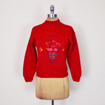 Vintage 80s Red French Plaid Flower Pot Embroider Sweater Jumper Novelty Print Sweater Mock Neck Sweater Crop Sweater 80s Sweater Women XS S