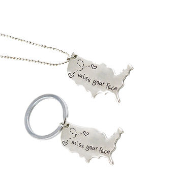 Long Distance Relationship Keychain Necklace