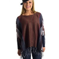 Fringed Poncho Sweater