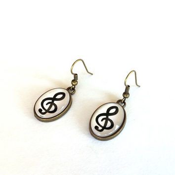 Earrings, Resin Earrings, Musical Left Key, Gift, Oval Drop Earrings,  For Musician Her, Musical Board, Minimalist, Music Note, Gift For Her