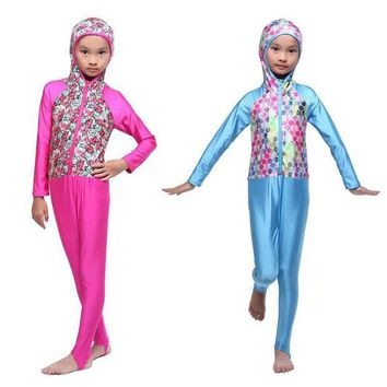 ONETOW Modest Muslim Swimwear for Girls Islamic Kids Swimsuit
