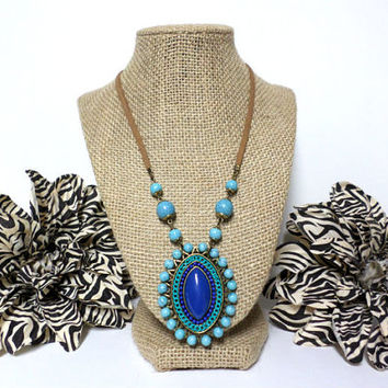 Boho Blue Cabochon turquoise beaded brown suede leather long pendant necklace, gift