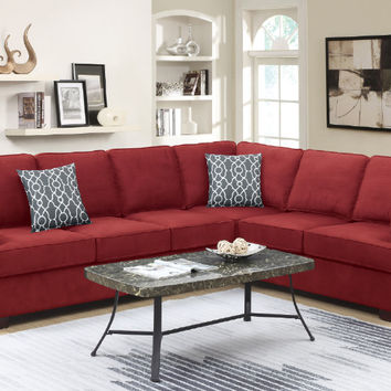 Poundex F6599 2 pc Paulina II red linen like fabric sectional sofa with nail head trim