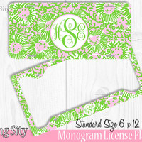 Green Pink Lion Monogram License Plate Frame Holder Metal Wall Sign Tags Personalized Custom Vanity Plate
