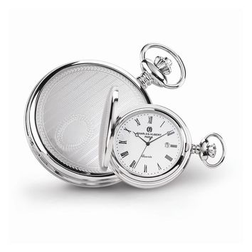 Stainless Steel Stripe Design Pocket Watch - Engravable Personalized Gift Item