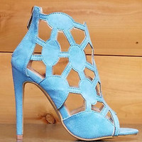 "Cape Robbin Lena 8 Turquoise Cut Out Open Toe Booty Shoes - 4"" Heels"