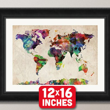 Watercolor Map of the World Map, Art Print, 12x16 inch (749)