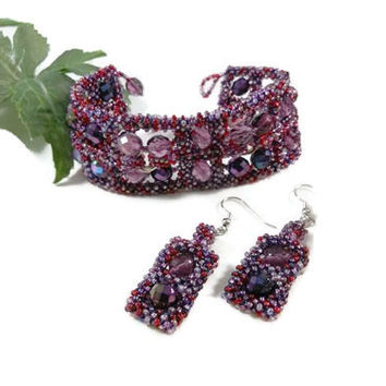 Purple Hand Beaded Cuff Bracelet with Mobius Rings and Earrings