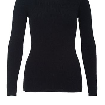 Boat neck jumper made of rib knit