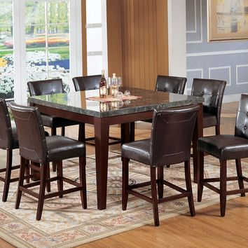 Acme 07059-07055 7 pc danville walnut finish wood black marble top counter height dining table set