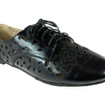 Women's Blue Berry Laser Cut Bluchers Shoes Stacy-25 Black