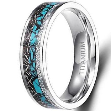 CERTIFIED 6mm Titanium Rings Turquoise Imitated Meteorite Inlaid | FREE ENGRAVING