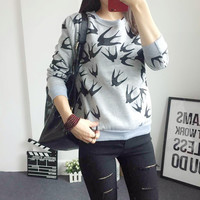 Print Scoop Long Sleeve Slim Plus Size Sweatshirt