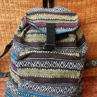 Festival Woven Backpack Aztec Ikat Travel Trip School Overnight Bag Hippie Bohemian Boho chic Tribal Styles Hipster Unique gift Men women