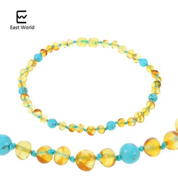 EAST WORLD 16 New Design Amber Bracelet/Necklace Baby Teething Natural Amber Beads Women Jewelry Gift Amber Suppliers 100 Styles
