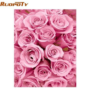 RUOPOTY Frame Pink Rose DIY Painting By Numbers Kits Modern Wall Art Canvas Acrylic Hand Painted For Wedding Decoration Artwork
