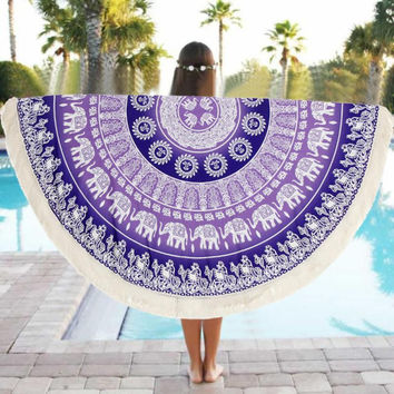 Special Round 150cm Towel Scarve Mandala Tapestry Beach Picnic Throw Rug Blanket Polyester Beach Towel Serviette De Plage Dec05