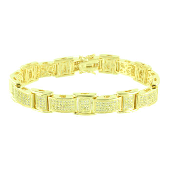 14K Gold Finish Bracelet Mens Canary Simulated Diamonds